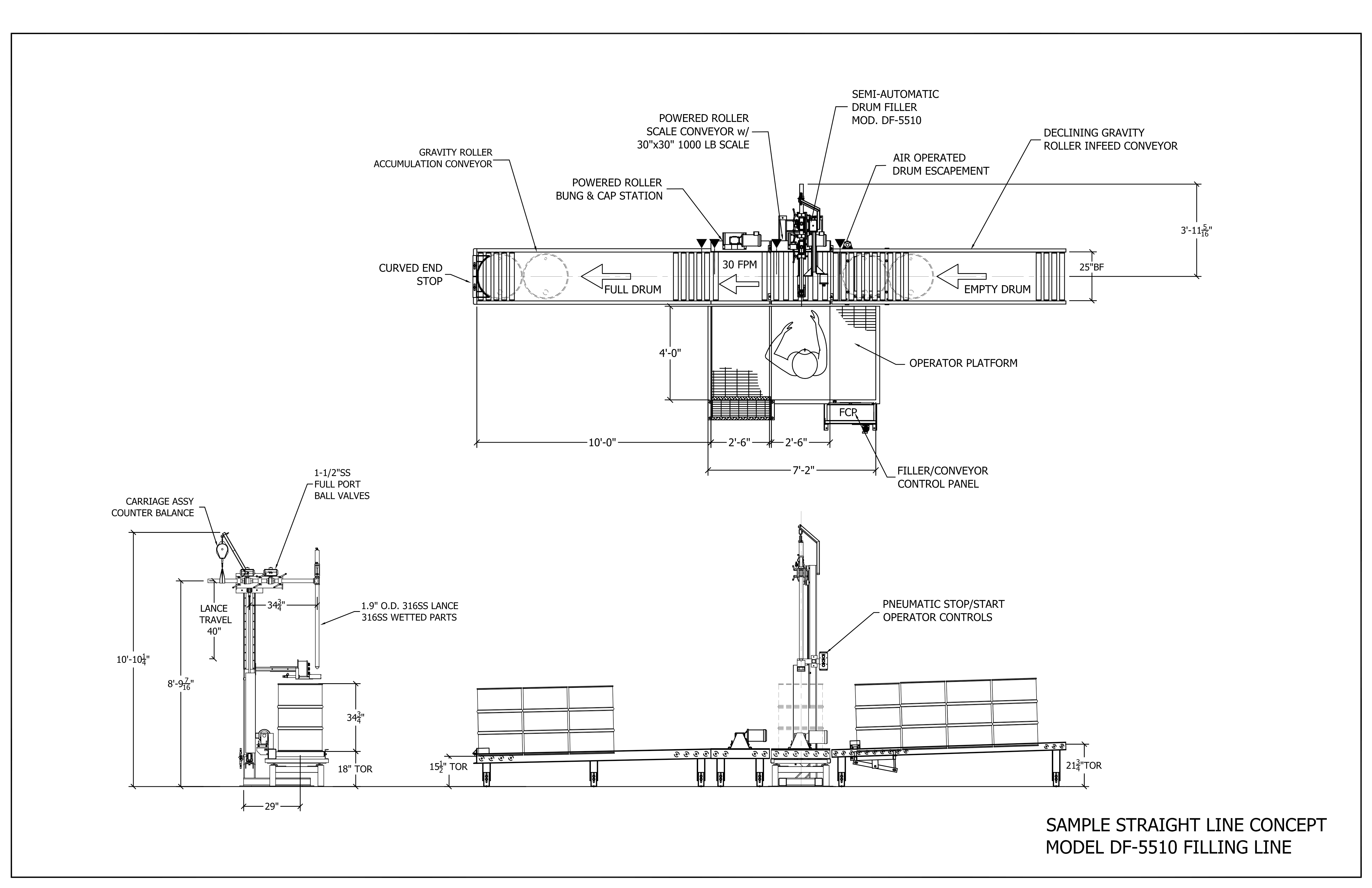Concept Drawing Stainless Single Drum Filler