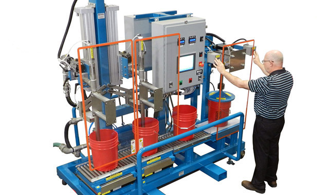 Mobile Dual Head Pail Filler with Lid Press